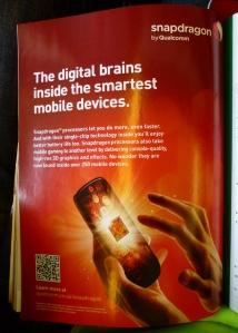 Qualcomm advertising in a consumer magazine